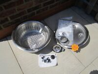 Stainless steel round sink and drainer with basket including all fittings