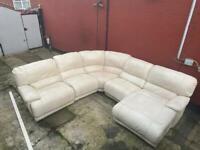 Italian leather cream corner reclining sofa can deliver 5 pcs
