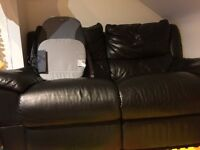 Black 2seater leather reclining sofa