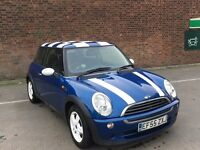 """MINI ONE - Dec 2005 - 104k miles - """"Unique"""" Blue with white bonnet stripes and checkered roof"""