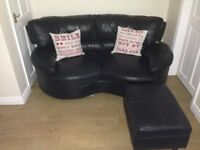 LOVELY UNUSUAL STYLE BLACK LEATHER SOFA + FOOTSTOOL