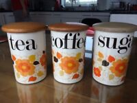 Gorgeous Crown Devon vintage tea, coffee and sugar canisters