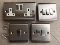 BRUSHED STEEL 1,2,3 gang PLATE LIGHT SWITCHES 10A