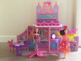 Barbie folding fairy house with two transforming barbies