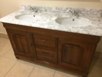 marble topped twin sink solid wood bathroom vanity unit