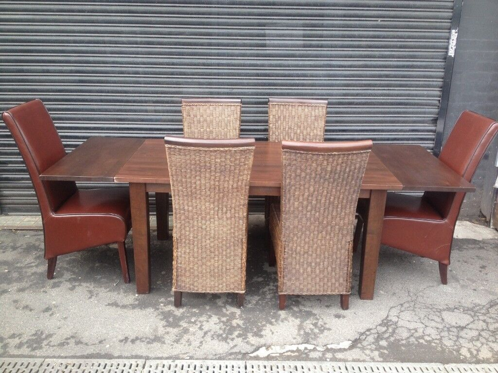 housing unit solid wood extending dining table and 6 chairs | in ...