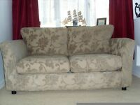 TWO SEATER METAL ACTION DOUBLE SIZE SOFA BED IN BEAUTIFUL BROWN FABRIC