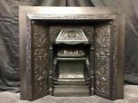 Antique Victorian Cast Iron Surround Insert fireplace