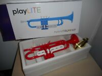 TRUMPET Bb. 'Hybrid' by playlite. A red plastic trumpet, aluminium valve linings. Really plays.
