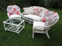 Conservatory / Garden Sofa + Armchairs x 2 and table