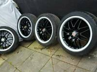 """17"""" alloy wheels and tyres wolfrace 4x100 4x108 to fit corsa clio renault also deep dished"""