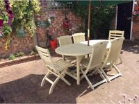 Shabby Chic Painted Hardwood Garden Table & 6 Chairs Furniture Set