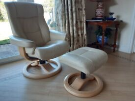 Cream leather reclining chair and matching footstool