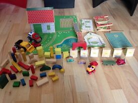 Over 80 pieces Amazing bundle of wooden train accesories vintage wooden houses fences and more