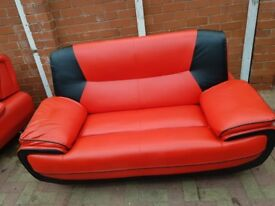Pair of Genuine Red Leather Sofas