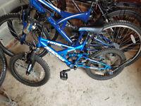"Boys blue Magna Tidal 5 Speed Full Suspension Mountain Bike 18"" wheels"