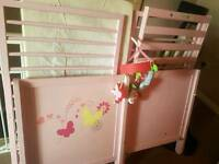 Mothercare dropside pink cot