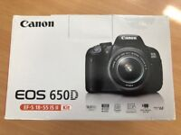 Brand New Unused Canon 650d Digital SLR DSLR camera 18-55mm IS Lens 64Gb SD and Spare Battery BNIB