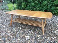 Ercol Coffee Table Windsor Natural Blonde Elm No. 459 Spindle Rack Rectangular