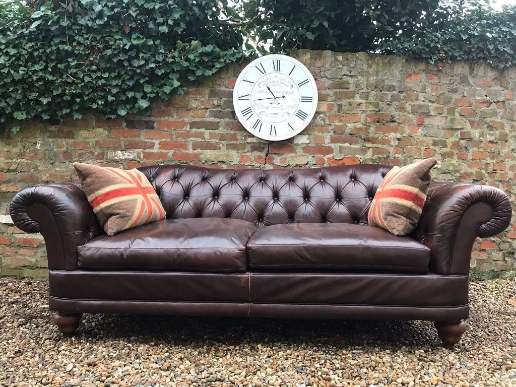 Large Laura Ashley Brown Chesterfield Sofa Can Deliver In West