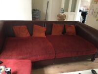 Sofa, arm chair and footstool
