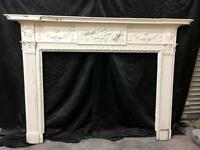 Antique Georgian Pine & Gesso Fireplace with Marble interior