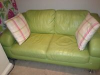 Stunning lime leather corner sofa and matching 2 seater