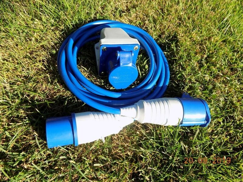 Used, 16A amp extension lead wall socket blue caravan commando 240v  for sale  Four Marks, Hampshire