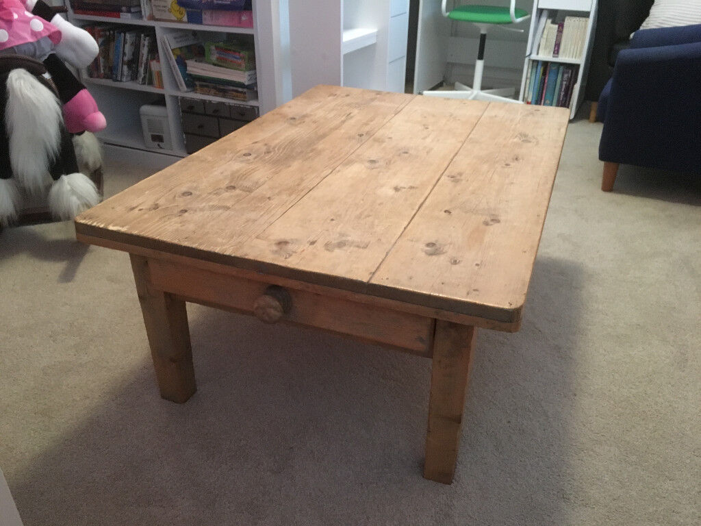 Antique Pine Coffee Table With Drawer