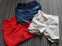 3 x H&M maternity shorts . Perfect condition. Denim, red , cream