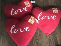 For sale 3 x New Red Pillows 36 x 36cm with the inscription 'love' BNWT
