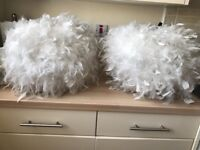 2 large feather lamp shades