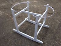 White Moses Basket/Pram Stand with rocking action