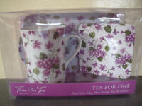 NEW Time For Tea Regal Spencer Tea For One fine china mug, mini serving tray and coaster. £5 ovno