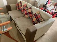 2 sofas with matching pouffe