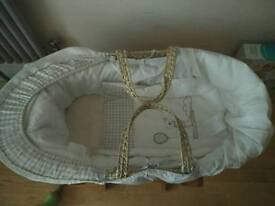 Mamas & Papas Moses basket with Mothercare deluxe gliding stand