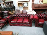 Oxblood leather 4 piece chesterfield suite for 595