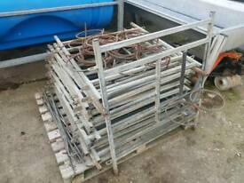 Calf rehearing pen fronts with bucket holders farm livestock tractor