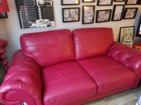 sofology pink leather 2 seater sofa