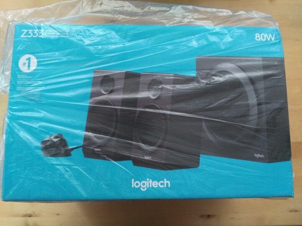 Logitech Z333 2.1 80W 3 piece multimedia Speaker System NEW unused & boxed London SE23/SE26 area