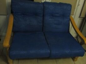 Blue Two Seater Sofa - Pine frame