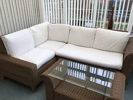 4 seater rattan corner sofa & glass top coffee table