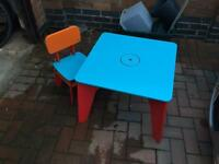Children's table and 2 chairs.