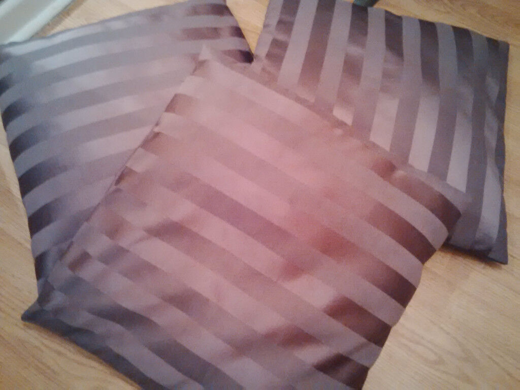Dunelm large purple striped cushions x 3