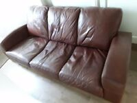 Leather 3 seater sofa - dark brown