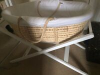 John Lewis Moses Basket and White, Wood Stand + Mattress