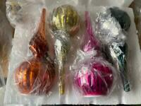 Set of 4 led finials christmas decorations new baubles