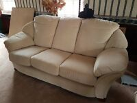 3 PIECE SUITE 3 SEATER SOFA SETTEE 2 ARMCHAIRS IVORY POSSIBLY G PLAN