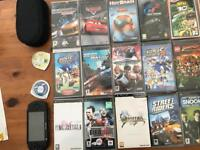 Psp with 23 games including charger and case