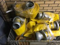 "1No Yellow Layflat 4"" pump hose for sale complete with fittings"